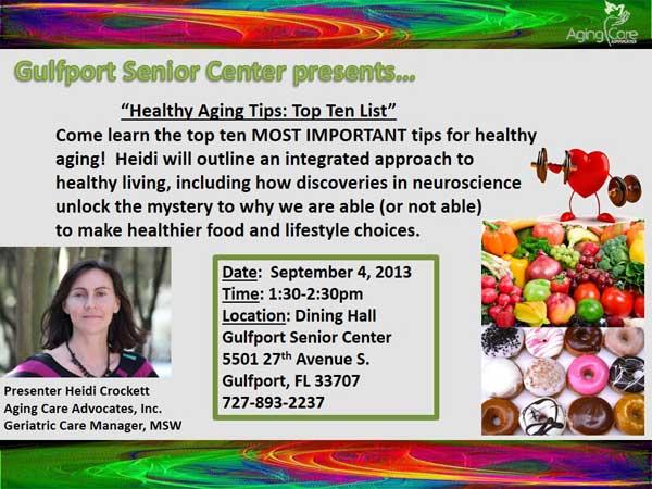 Healthy Aging Tips: Top Ten List
