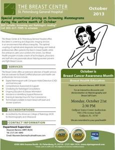 Breast Health Education Monday October 21, 2013
