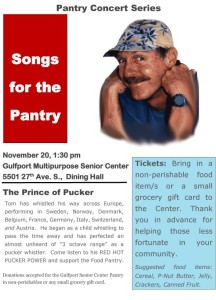 Whistling Tom Performs Songs for the Pantry Nov 20, 2013