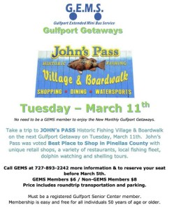 Sign up by March 5 for Gulfport Getaway to Johns Pass Village