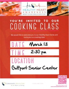 Heart Healthy Cooking March 13 @ 2:30 pm