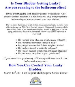Learn to Control Your Leaky Bladder March 12 2014